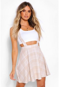 Sand beige Tonal Check Pinafore Flippy Skirt