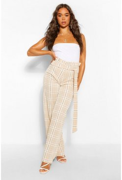 Black Tonal Check Slouchy Paperbag Waist Trousers