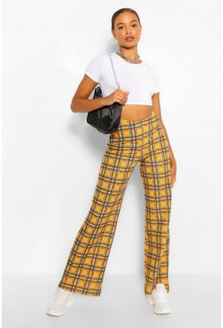 Mustard yellow Checked Wide Leg Trousers