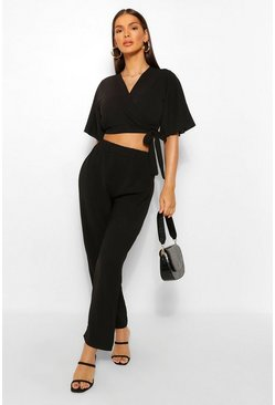 Black Tie Front Kimono Style Crop & Pants Two-Piece