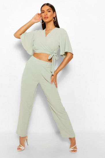 Teal green Tie Front Kimono Style Crop & Trouser Co-ord
