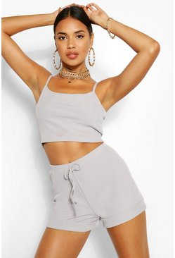 Grey Rib Cami and Shorts Rib Co-ord