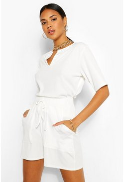 White Rib T-Shirt & Shorts Two-Piece