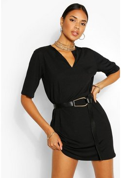 Black Split Neck Rib T-Shirt Dress