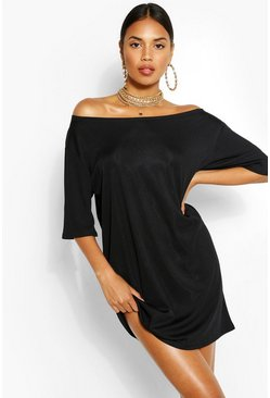 Black Off The Shoulder Rib T-Shirt Dress