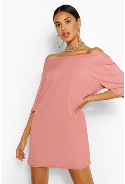 Rose pink Off The Shoulder Rib T-Shirt Dress