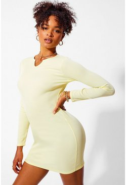 Yellow Notch Neck Long Sleeve Bodycon Dress