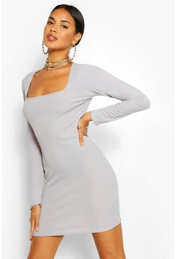 Grey Square Neck Open Back Rib Bodycon Dress