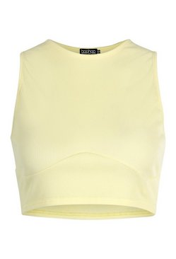 Yellow Racer Front Bust Seam Detail Rib Crop Top