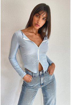Sky blue Zip Front Long Sleeve Rib Top