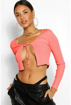 Rose pink Tie Front Rib Top