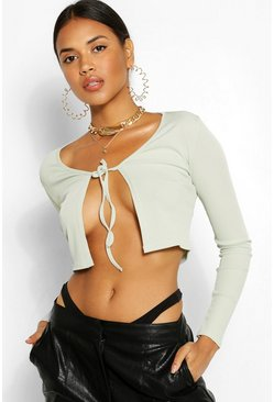 Sage green Tie Front Rib Top