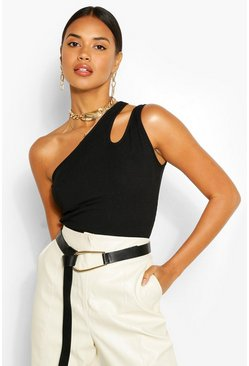 Black Keyhole One Shoulder Rib Top