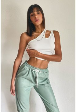 White Keyhole One Shoulder Rib Top