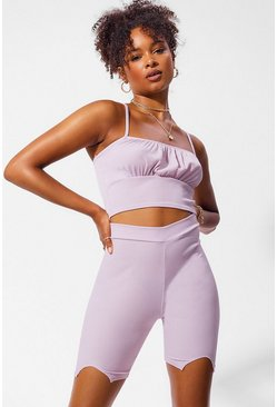 Lilac purple Rib Split Front Cycling Shorts