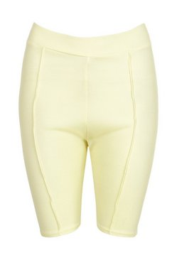 Yellow Rib Piping Detail Cycling Shorts