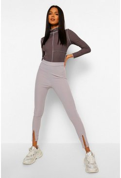 Grey Split Front Ribbed Jersey Legging