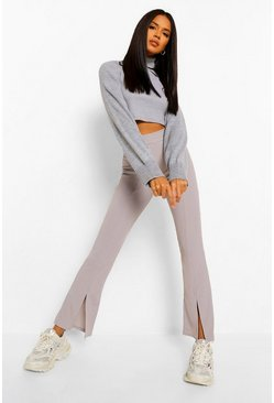 Grey Split Front Ribbed Flared Pants