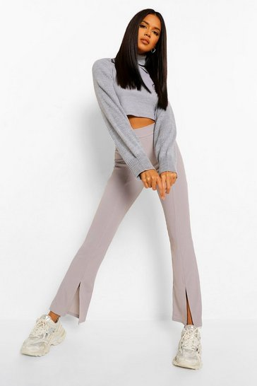 Grey Split Front Ribbed Flared Trouser