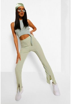 Sage green Split Front Ribbed Flared Pants