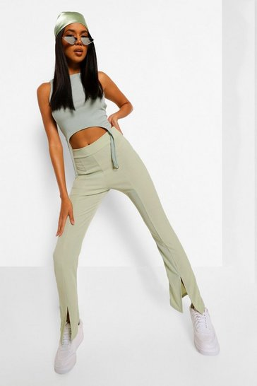 Sage green Split Front Ribbed Flared Trouser