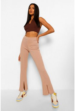 Stone beige Split Front Ribbed Flared Pants
