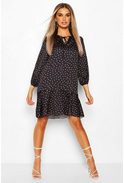 Black Peplum Hem Polka Dot Smock Dress