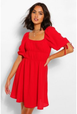 Red Balloon Sleeve Smock Dress