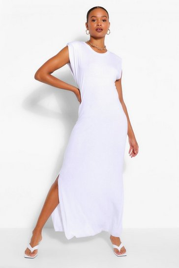 White Shoulder Pad Jersey Maxi Dress