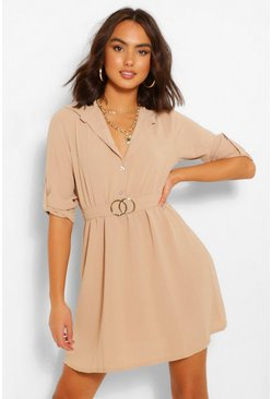Stone beige Belted Shirt Dress