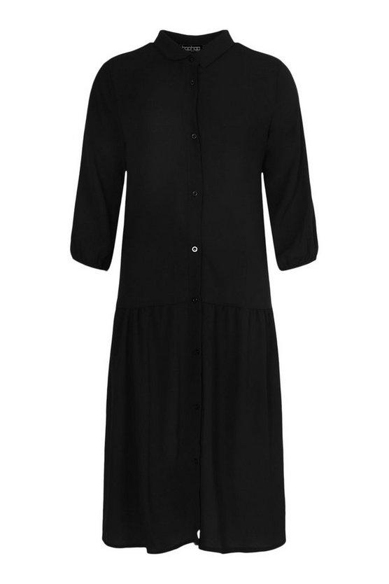 1920s Style Dresses, 20s Dresses Womens Drop Hem Shirt Dress - Brown - 12 $16.80 AT vintagedancer.com