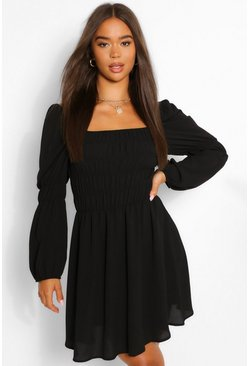 Black Ruched Mini Dress