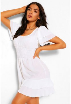 White Smocked Angel Sleeve Skater Dress