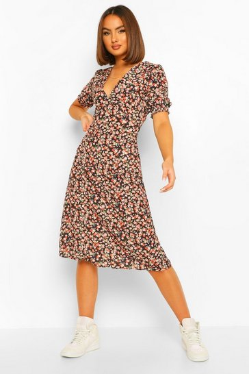 Black Ditsy Print Midi Tea Dress
