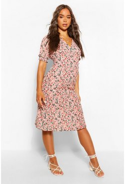Ditsy Print Midi Tea Dress, Pink