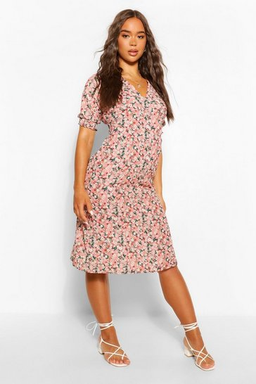 Pink Ditsy Print Midi Tea Dress