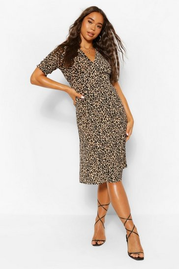 Leopard Print Midi Tea Dress
