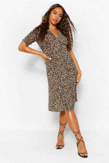 Leopard Print Midi Tea Dress