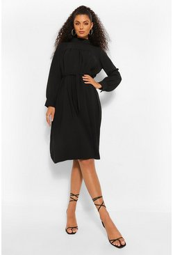 Black High Neck Smock Midi Dress