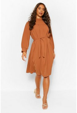 Roest orange High Neck Gesmokte Midi-Jurk