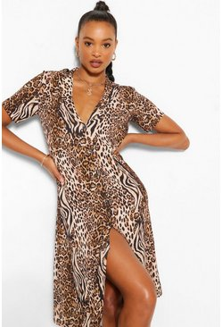 Tiger & Leopard Mix Shirt Style Midi Dress