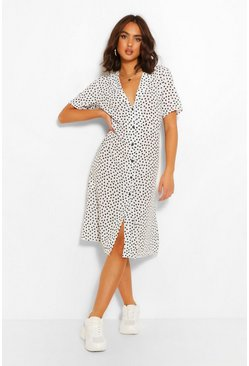 White Polka Dot Shirt Style Midi Dress