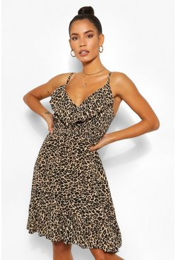 Ruffle Leopard Strappy Dress