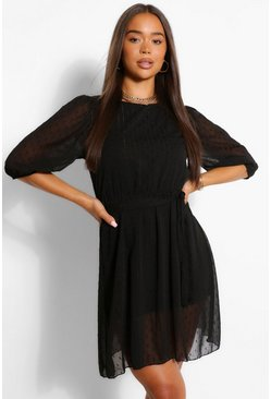 Black Metallic Dobby Mesh Tie Belt Shift Dress