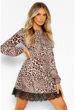 Leopard Print Trim Shift Dress