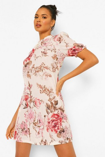 Stone beige Floral High Neck Shift Dress