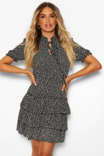 Black Spotted Ruffle Shift Dress