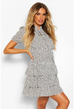 White Spotted Ruffle Shift Dress