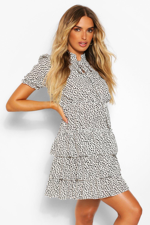 DRESSES Spotted Ruffle Shift Dress