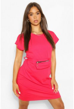 Red Jersey T-Shirt Dress With Wrap Around Body Bag